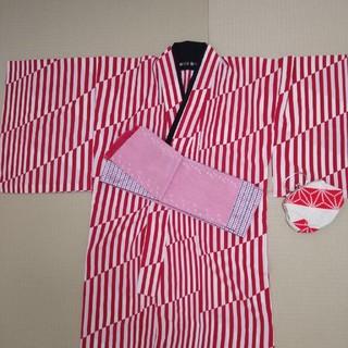 フリフ(ふりふ)の浴衣 レトロ柄 半幅帯・鞄・半衿セット(浴衣)