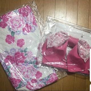 姫系☆ピンク花柄浴衣と帯セット レース パール レディース(浴衣)