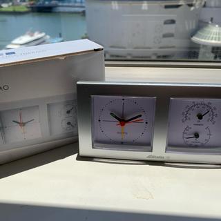 カシオ(CASIO)のアリタリア スクエアクロック サーモ 温度湿度計付時計(置時計)