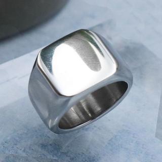 指輪 メンズ リング 印台 鏡面 スクエア シルバー サージカルステンレス