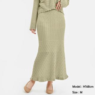 ジーユー(GU)の【GU】透かし編みニットスカート ピスタチオグリーン M(ロングスカート)