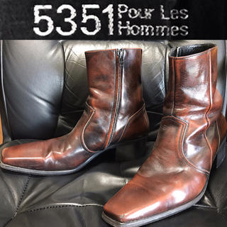 5351 POUR LES HOMMES - 5351PourLesHOMMES送料込¥定価5万程ブーツ革レザー靴ロックドメス