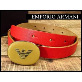 エンポリオアルマーニ(Emporio Armani)の極美品 エンポリオアルマーニ ロゴ オーバル バックル ナロー レザーベルト 赤(ベルト)