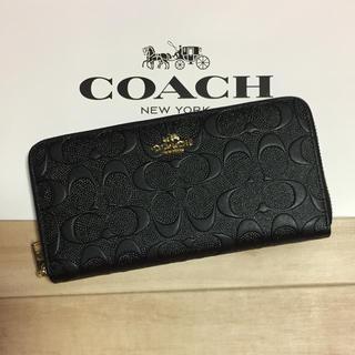 COACH - 新品 [COACH コーチ] 長財布 エンボスドシグネチャー  黒