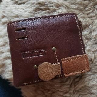 本革 二つ折り財布 レザー ウォレット 2つ折り 茶色 革財布 メンズ (折り財布)