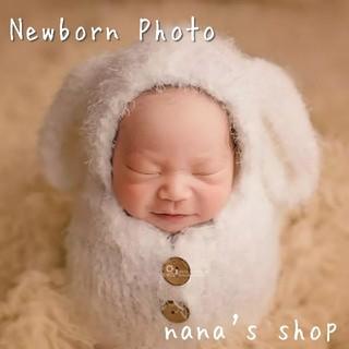 白 ニューボーンフォト撮影衣装 ウサギ耳のおくるみ 赤ちゃん 記念 ベビー