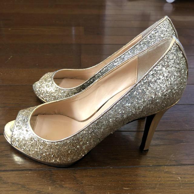 DIANA(ダイアナ)のDIANA(ダイアナ )ラメオープントゥパンプス 23.5 中古美品 ハイヒール レディースの靴/シューズ(ハイヒール/パンプス)の商品写真