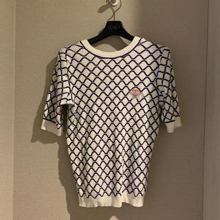 シャネル(CHANEL)のサマー半袖ニットトップスホワイト 38(カットソー(半袖/袖なし))
