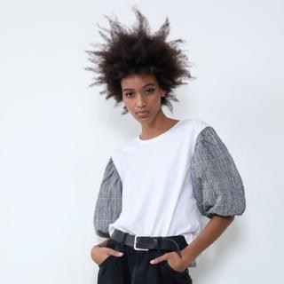 ザラ(ZARA)の新品ZARAチェックパフスリーブコンビTシャツS(Tシャツ(半袖/袖なし))