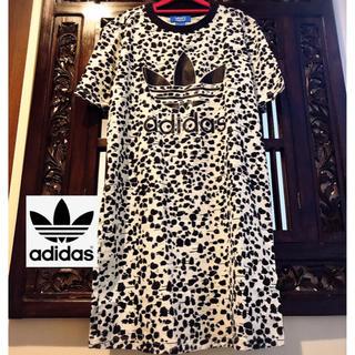 アディダス(adidas)のアディダス オリジナルス ダルメシアン柄 Tシャツ ワンピース ジャージ  ML(ミニワンピース)