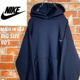 NIKE - 【USA製 90s】ナイキ《NIKE》トリミング刺繍ロゴ スウェットパーカ