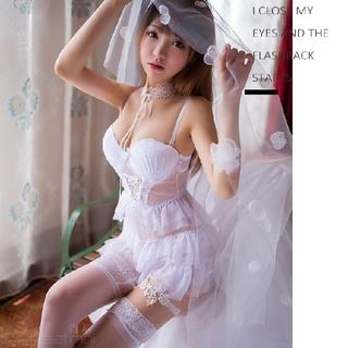 スタイルアップ出来るセクシーランジェリー♡フリーサイズ レディース ホワイト(衣装一式)