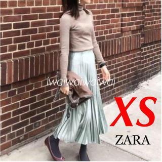 ザラ(ZARA)の新品 ZARA XS サテン プリーツ スカート ミントグリーン(ロングスカート)