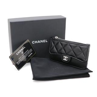 シャネル(CHANEL)のCHANEL カードケース コイン クラシック ラムスキン ブラック A2802(名刺入れ/定期入れ)