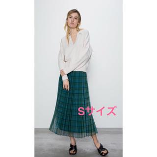 ザラ(ZARA)のZARA チュールプリーツロングスカート 2020SS Sサイズ 【新品】(ロングスカート)