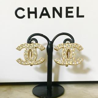 CHANEL - 正規品 シャネル イヤリング ゴールド ココマーク ラインストーン 金 ロゴ 石