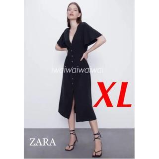 ザラ(ZARA)の新品 完売品 ZARA XL フレアスリーブ ボタン ワンピース(ロングワンピース/マキシワンピース)