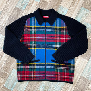 Supreme - 18AW Supreme Plaid Front Zip Sweater