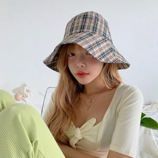 スタイルナンダ(STYLENANDA)のstylenanda チェック 帽子 バケットハット 韓国(ハット)