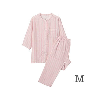 ムジルシリョウヒン(MUJI (無印良品))の無印良品   脇に縫い目のない サッカー織り半袖パジャマ  婦人M・ピンク×柄(パジャマ)