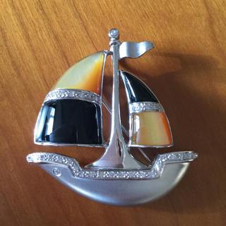 ブローチ 船 舟 18金 ダイヤ