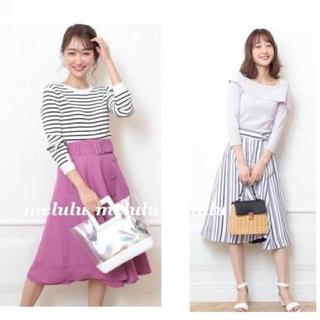 ひざ丈フレアスカート 紫(ひざ丈スカート)