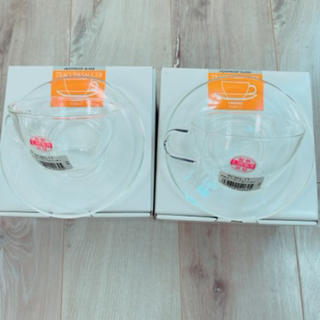 ハリオ(HARIO)のHARIOハリオ耐熱カップアンドソーサー2客カップ&ソーサー(食器)