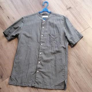 UNIQLO - ユニクロ■半袖リネンコットンスタンドカラーシャツ リネンブレンドシャツ