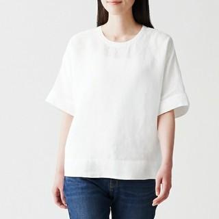 MUJI (無印良品) - ☆新品☆ 無印良品 オーガニックリネン 洗いざらし半袖ブラウス/XS~S/白