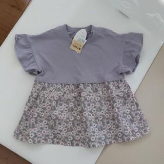 シマムラ(しまむら)の♥新品タグ付♥ラベンダー切り替え花柄トップス 100cm(Tシャツ/カットソー)