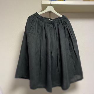 ムジルシリョウヒン(MUJI (無印良品))の無印良品 フレンチリネンギャザースカート マキシスカート ブラック Lサイズ(ロングスカート)