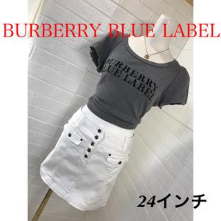 バーバリーブルーレーベル(BURBERRY BLUE LABEL)の BURBERRY BLUE LABEL 白ストレッチデニムスカート(ミニスカート)
