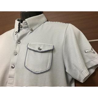 PUMA - 【美品】◆PUMAプーマ◆半袖ポロシャツ◆Lサイズ◆グレー◆細ストライプ