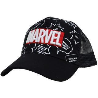 マーベル(MARVEL)のMARVEL マーベル キッズ メッシュキャップ アメコミ ロゴ★ブラック新品(帽子)