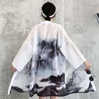 水墨画 法被 羽織り カーディガン(浴衣)
