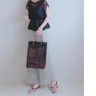 シマムラ(しまむら)の人気完売品 しまむら クリアバッグ パイソン柄 茶系 バンブー持ち手(ハンドバッグ)