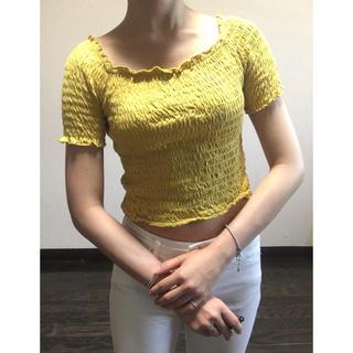 ジーユー(GU)のGU レディース トップス イエロー 可愛い 激安 tシャツ へそだし(Tシャツ(半袖/袖なし))