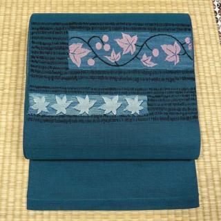 夏帯 藍色に黒の縞と楓 開き名古屋帯(帯)