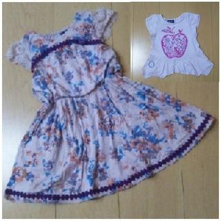 ANNA SUI mini - ANNA SUI mini 花柄ワンピース 90cm カットソーのオマケ付き