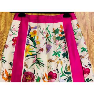 グッチ(Gucci)の※期間限定お値下げ●GUCCIグッチフローラピンク配色スカート40新品(ロングスカート)