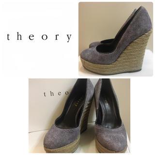 theory - theory ネイビーウエッジ パンプス