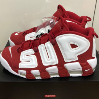 新品 SUPREME × NIKE MORE UP TEMPO RED 赤 28