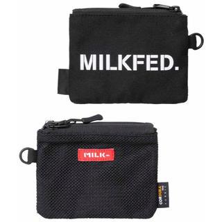ミルクフェド(MILKFED.)の<新品>MILKFED.ダブルポケットミニポーチ黒ブラック(ポーチ)