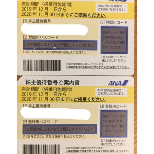ANA(全日本空輸)(エーエヌエー(ゼンニッポンクウユ))のana 株主優待券 2枚 チケットの優待券/割引券(その他)の商品写真
