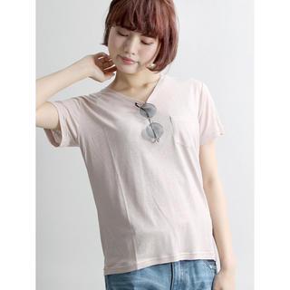 WEGO - 麻混リネンモダールVネックTシャツ胸ポケットダスティピンクベージュ新品タグ付き