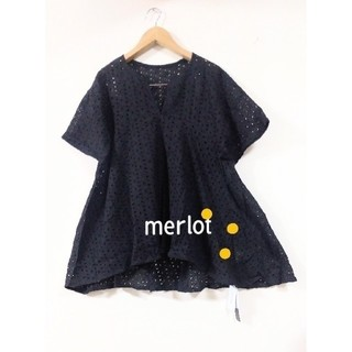 merlot - メルロー 綿総レースAラインカットソー ブラウス 黒 F