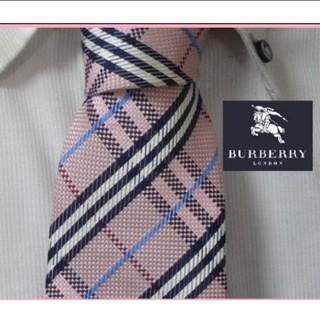 バーバリー(BURBERRY)の美品★バーバリーロンドン【ピンクチェック柄高級ネクタイ★(ネクタイ)
