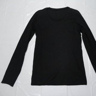 ダブルジェーケー(wjk)の高級 日本製 美品◆WJK レイヤードCネック長袖Tシャツ黒M◆AKMカットソー(Tシャツ/カットソー(七分/長袖))