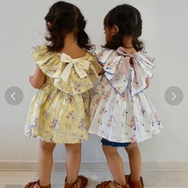 petit main(プティマイン)の新品 プティマイン フリルチュニック 花柄 キッズ/ベビー/マタニティのキッズ服女の子用(90cm~)(Tシャツ/カットソー)の商品写真