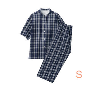 ムジルシリョウヒン(MUJI (無印良品))の無印良品   脇に縫い目のない サッカー織り半袖パジャマ  婦人S・ネイビー×柄(パジャマ)